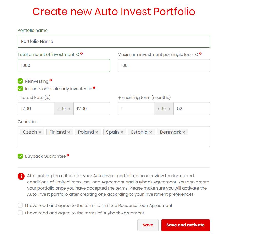 Create Auto Invest Portfolio