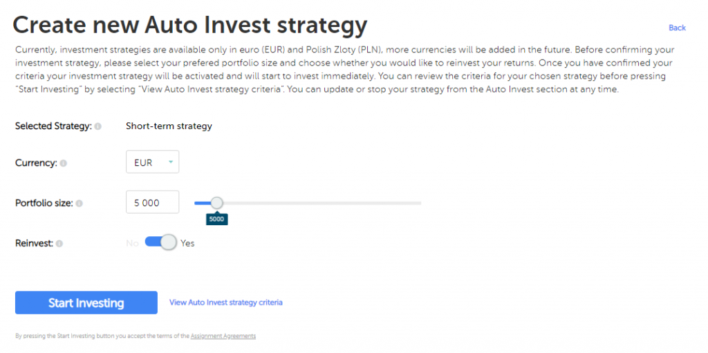 A standarized auto investment, short-term strategy, at Mintos: