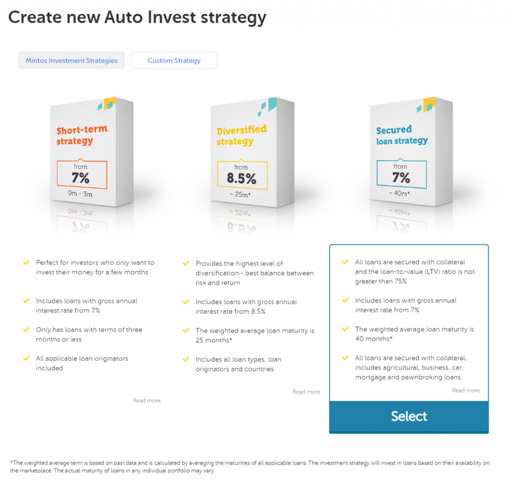 Mintos Auto Investment Possibilities