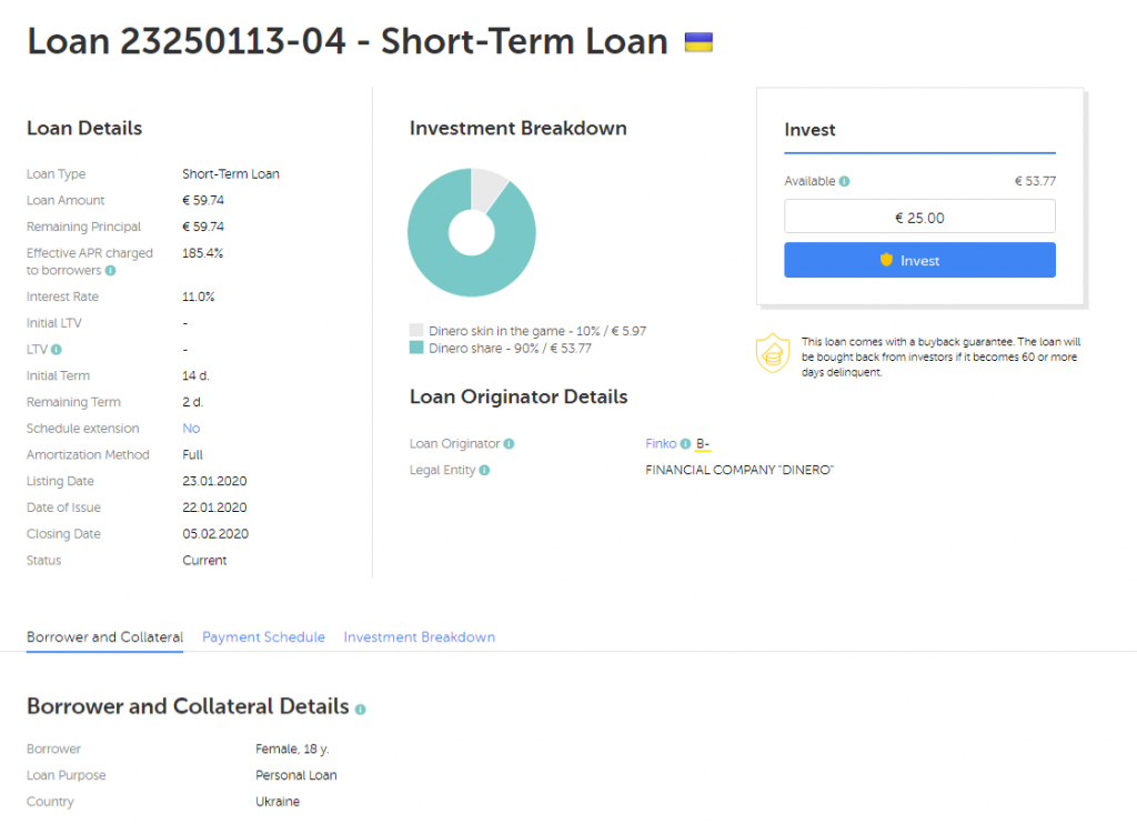 Example Short Term Loan At P2P Investment Platform Mintos