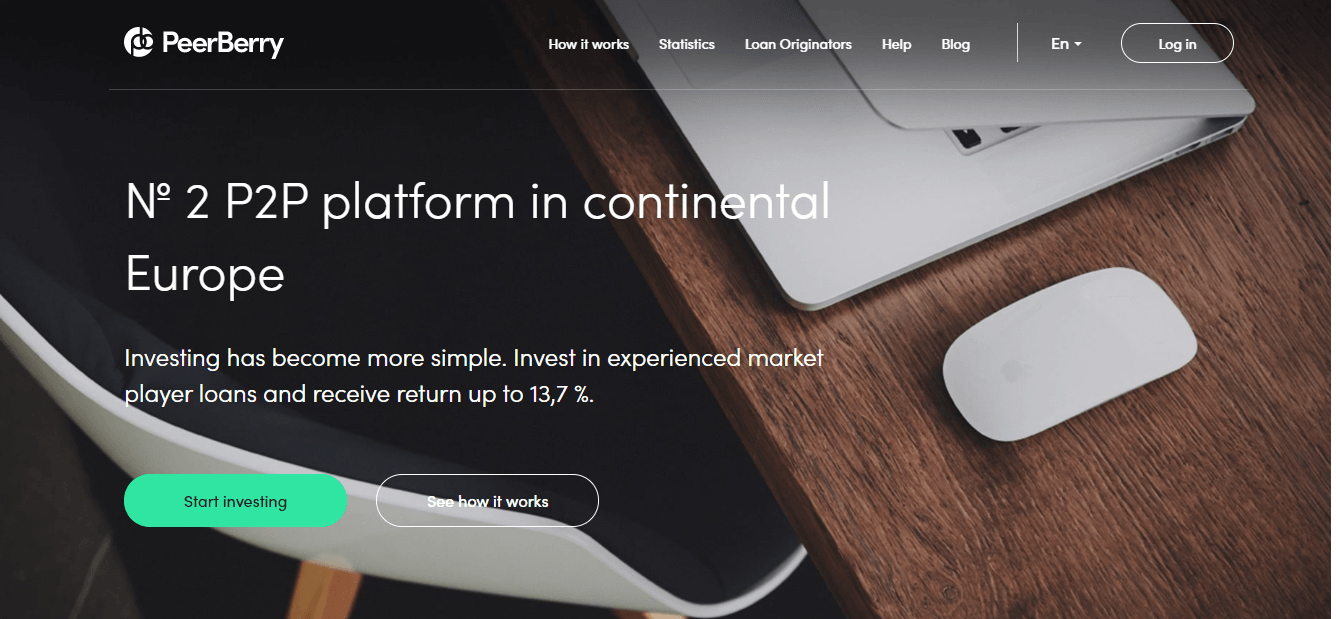 Homepage Of P2P Platform Peerberry