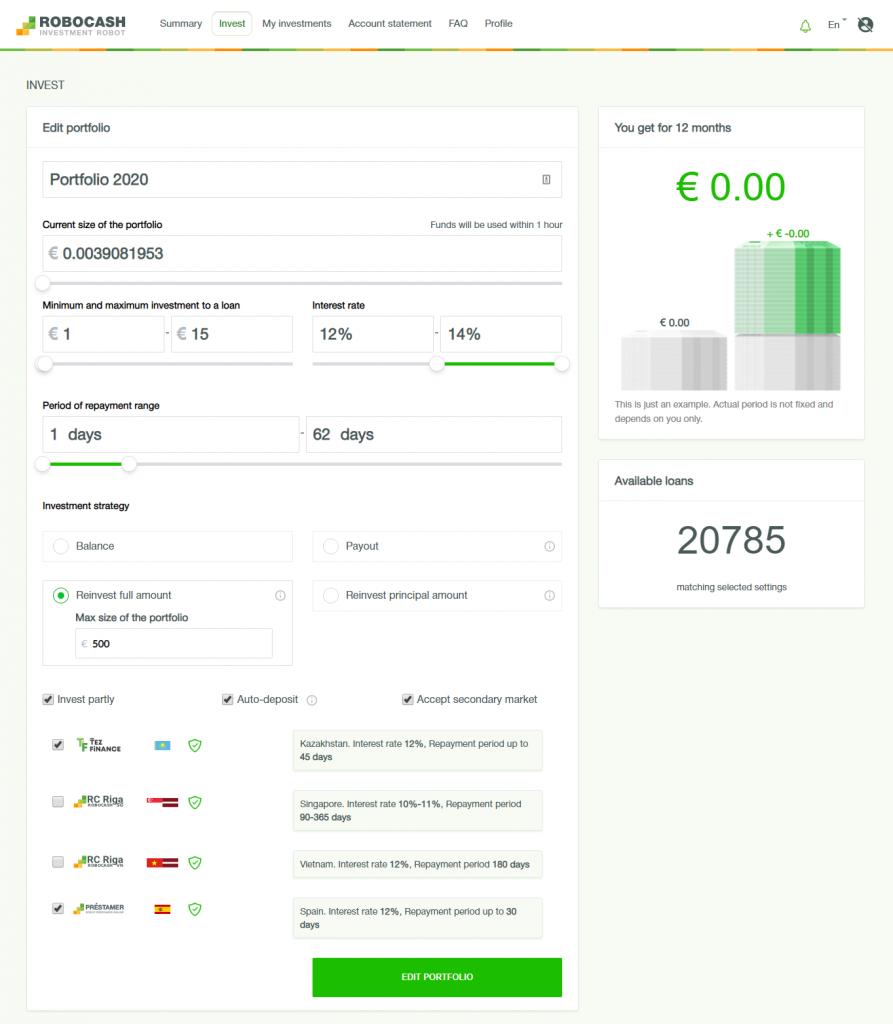 Setting Up Auto Investment Portfolio With P2P Investment Platform Robocash