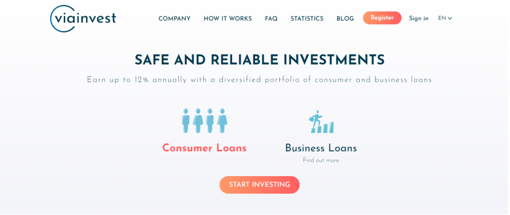 Homepage Of P2P Platform VIAINVEST