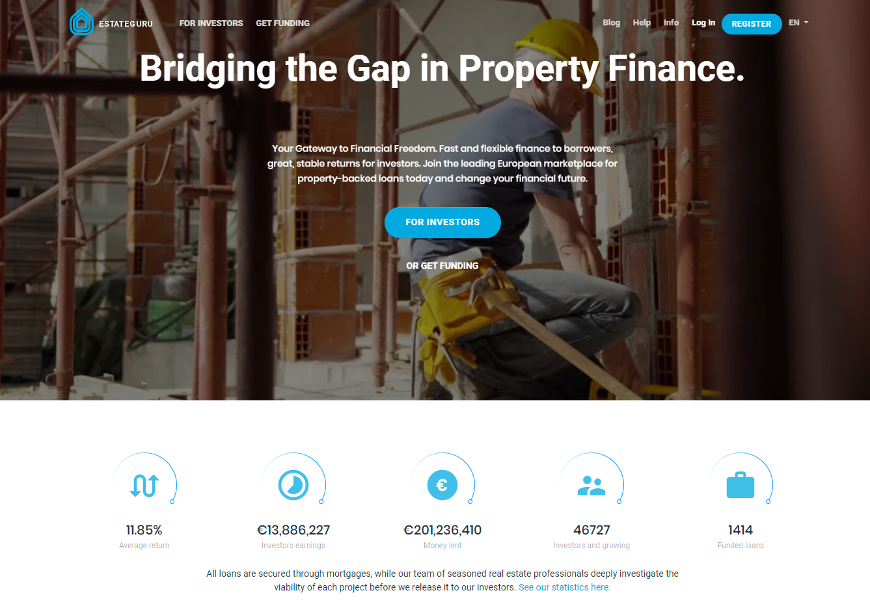 Homepage Of P2P Investment Platform EstateGuru