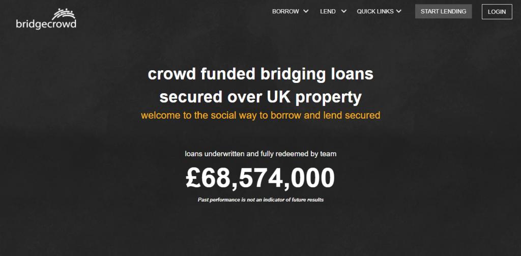 Homepage Of P2P Platform Bridgecrowd