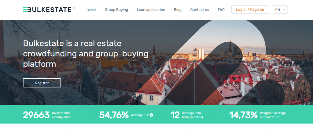 Homepage Of P2P Platform Bulkestate