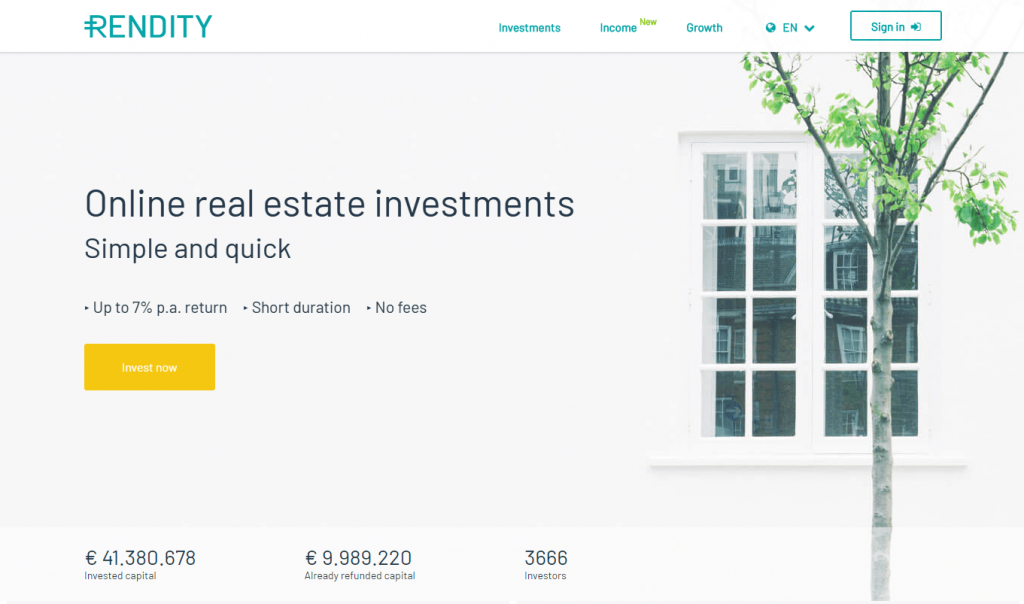 Homepage Of P2P Platform Rendity