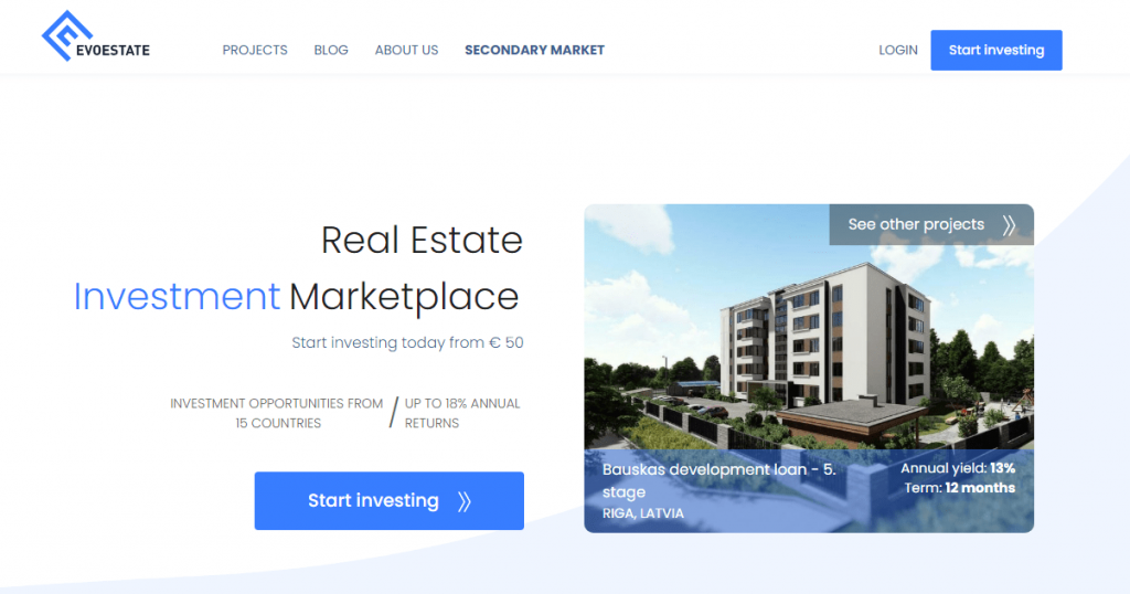 Homepage Of Real Estate Investment Marketplace EvoEstate